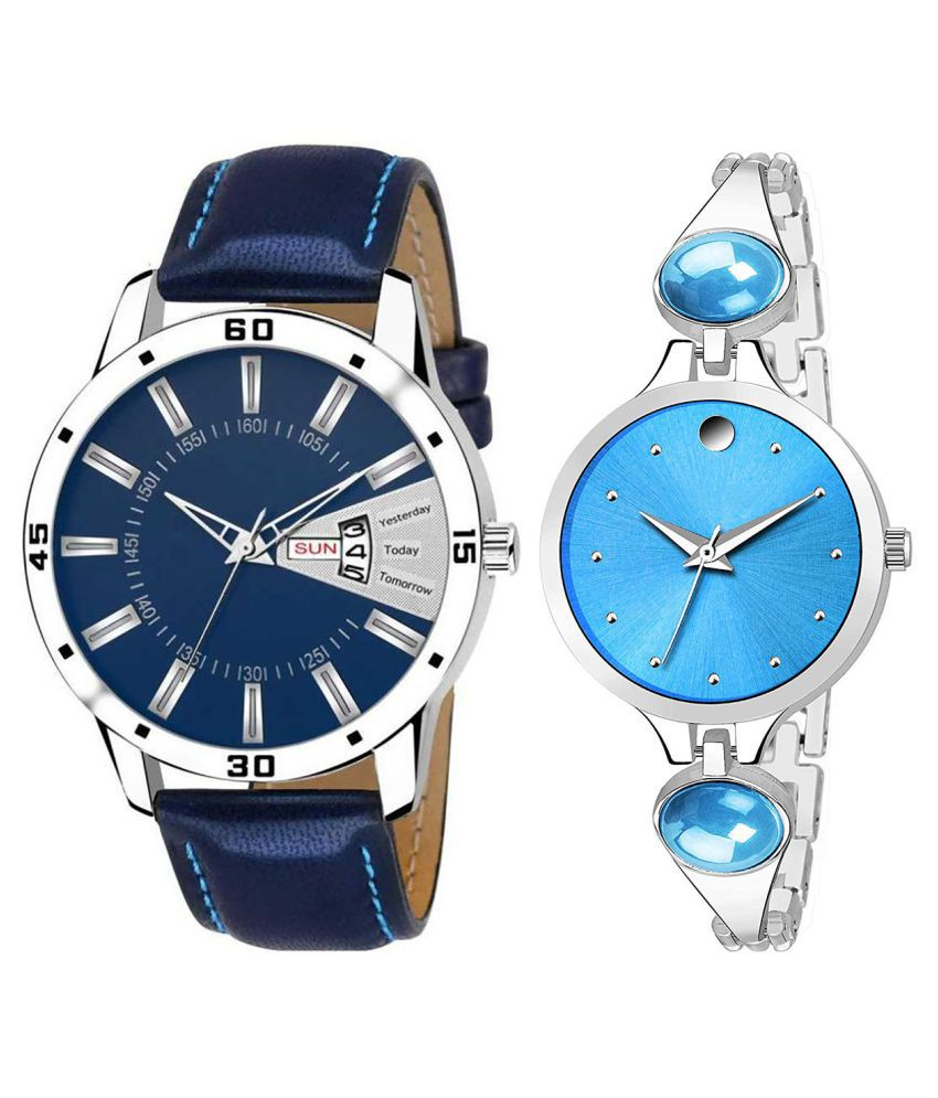 Vasant Impex Blue Dial Day And Date New Stylish Couple Watch For Men And Women 168