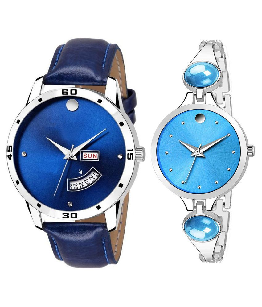 Vrutti Enterprise Blue Dial Day And Date New Stylish Couple Watch For Men And Women 136