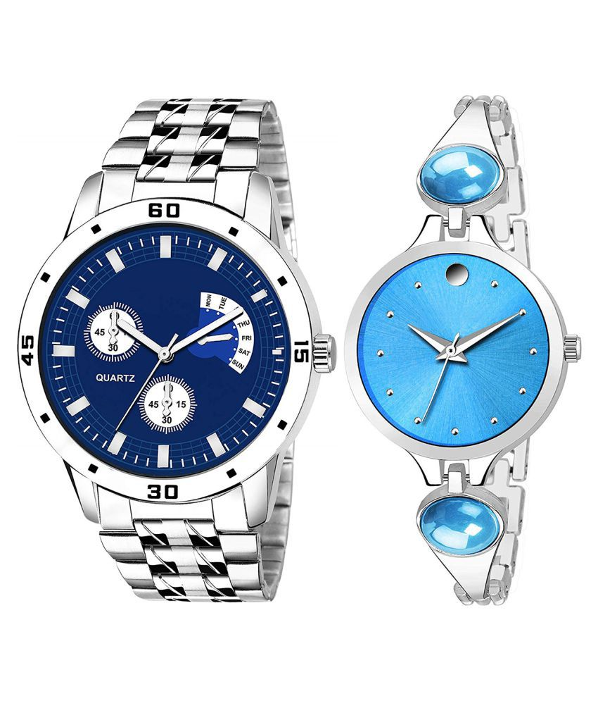 Vrutti Enterprise Blue Dial  New Stylish Couple Watch For Men And Women 296