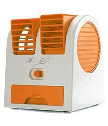 Goyal Trading Mini Fan & Portable Dual Bladeless Small Water Air Cooler Powered by USB & Battery (Orange)