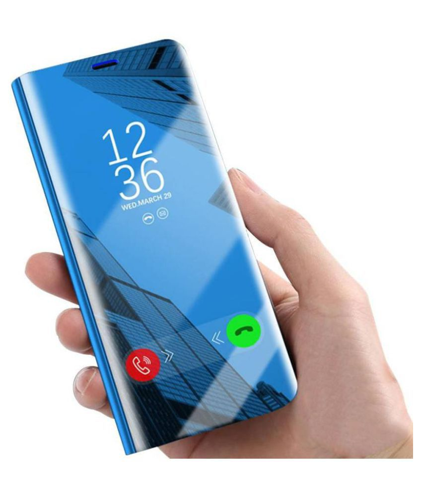 buy popular 7e209 a3346 Samsung Galaxy A6 Plus 2018 Flip Cover by BeingStylish - Blue Luxury Clear  View Mirror Flip Cover
