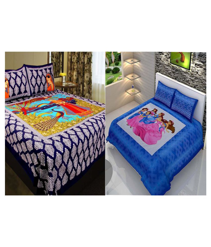 b585405073 jaipuri bedsheet Cotton 2 Double Bedsheets with 4 Pillow Covers - Buy  jaipuri bedsheet Cotton 2 Double Bedsheets with 4 Pillow Covers Online at  Low Price in ...