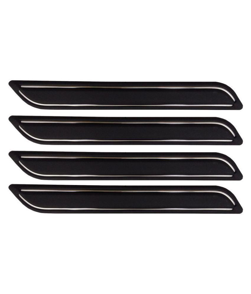 Ek Retail Shop Car Bumper Protector Guard with Double Chrome Strip (Light Weight) for Car 4 Pcs  Black for ChevroletEnjoy1.3LT8STR
