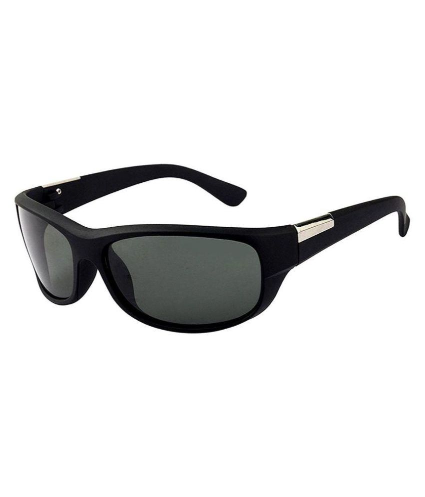 Inspire Luxury Designs - Black Wrap Around Sunglasses ( 2053-BL-GRN-M )