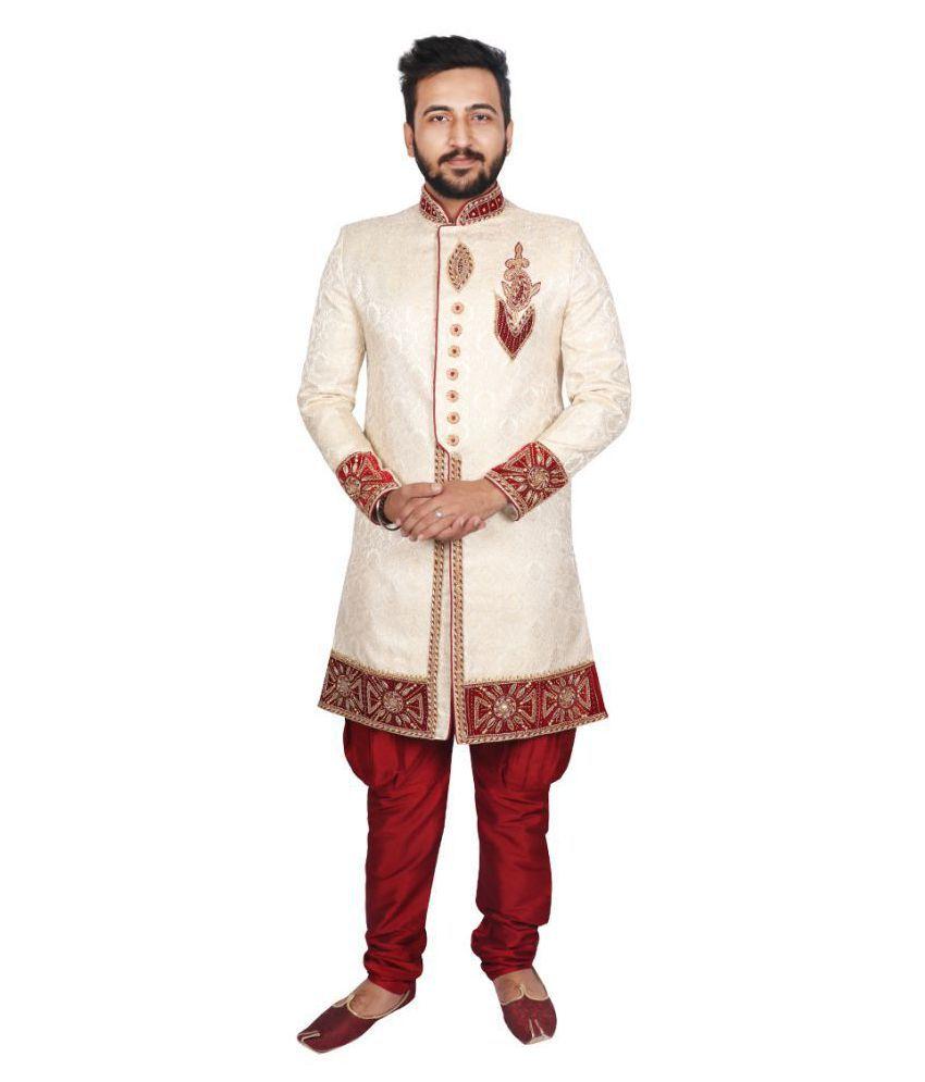 SG RAJASAHAB Cream Silk Sherwani