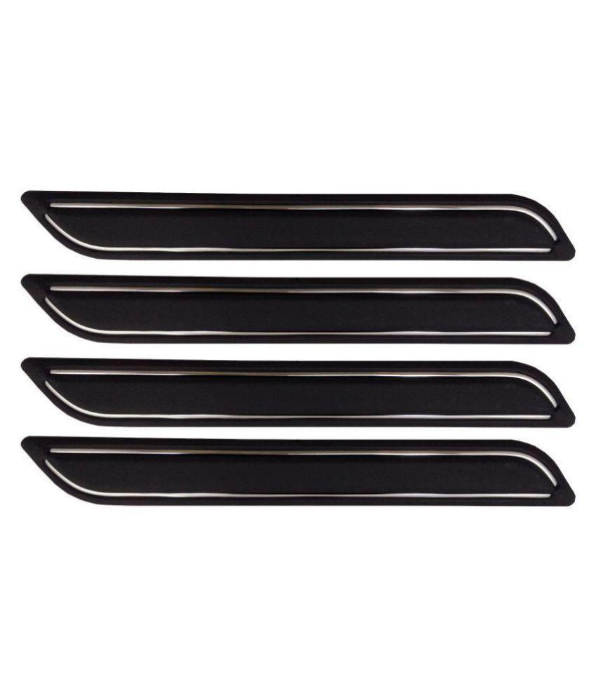 Ek Retail Shop Car Bumper Protector Guard with Double Chrome Strip (Light Weight) for Car 4 Pcs  Black for Maruti SuzukiSwiftDzireZXI
