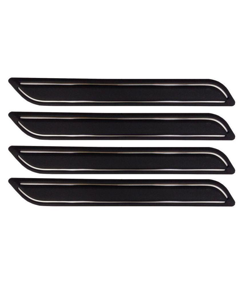 Ek Retail Shop Car Bumper Protector Guard with Double Chrome Strip (Light Weight) for Car 4 Pcs  Black for Maruti SuzukiCelerioGreenVXIOptional