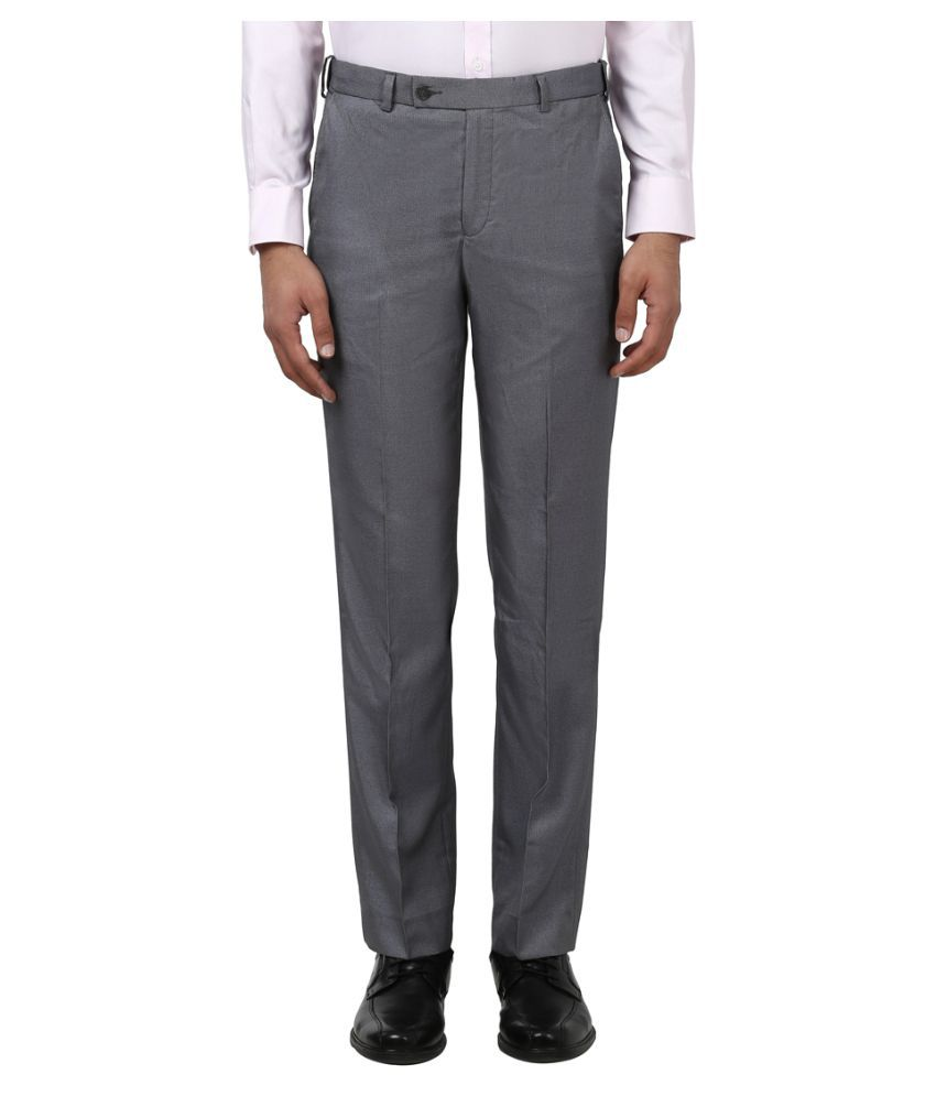 Park Avenue Grey Regular -Fit Pleated Trousers