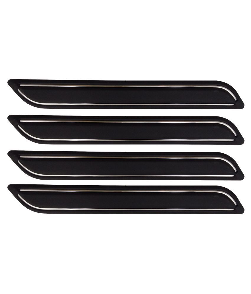 Ek Retail Shop Car Bumper Protector Guard with Double Chrome Strip (Light Weight) for Car 4 Pcs  Black for Maruti SuzukiWagonRStingrayVXIOptional
