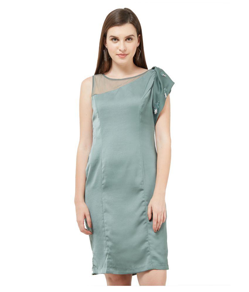 Soie Polyester Green A- line Dress