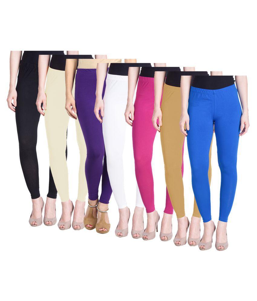 KAYU Cotton Lycra Pack of 7 Leggings