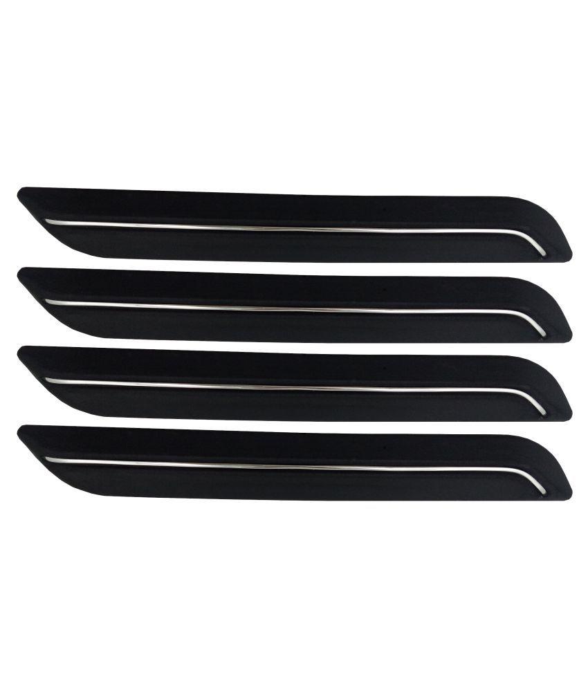 Ek Retail Shop Car Bumper Protector Guard with Single Chrome Strip (Light Weight) for Car 4 Pcs  Black for Maruti SuzukiAlto800CNGLXI