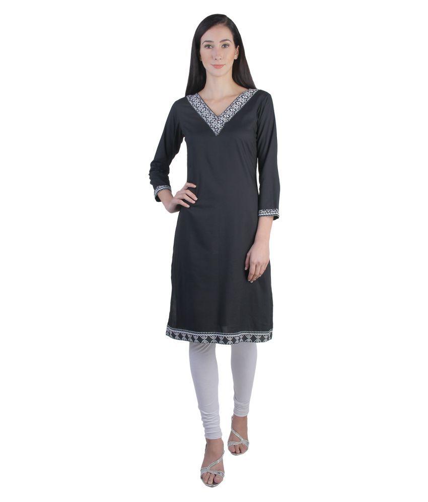 Vaijyanti Black Rayon A-line Kurti