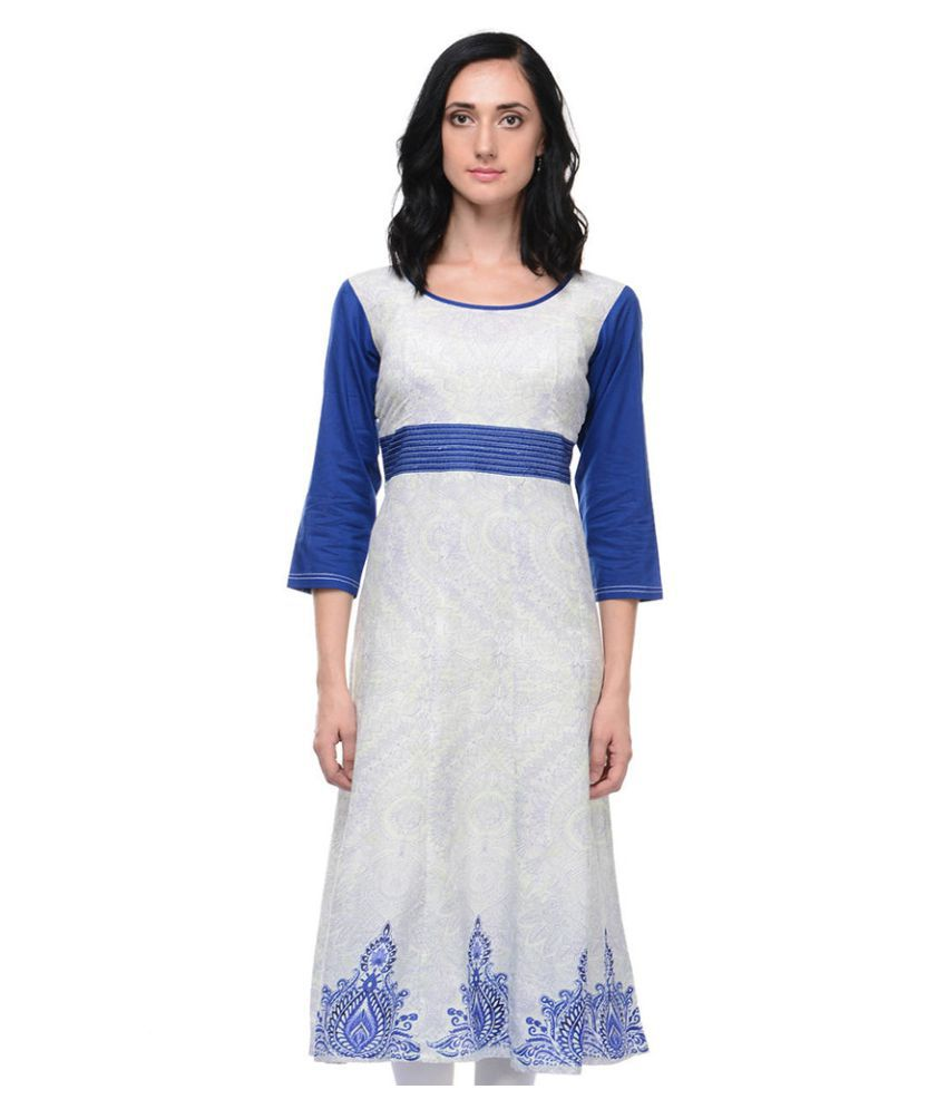 Vaijyanti Blue Cotton A-line Kurti