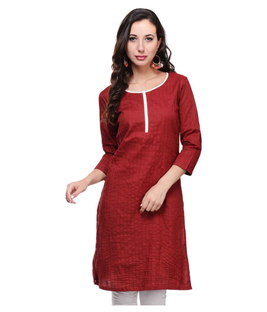 Vaijyanti Pink Cotton A-line Kurti