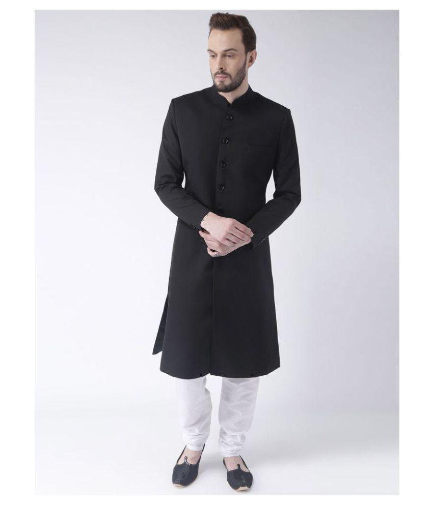Hangup Black Polyester Blend Sherwani