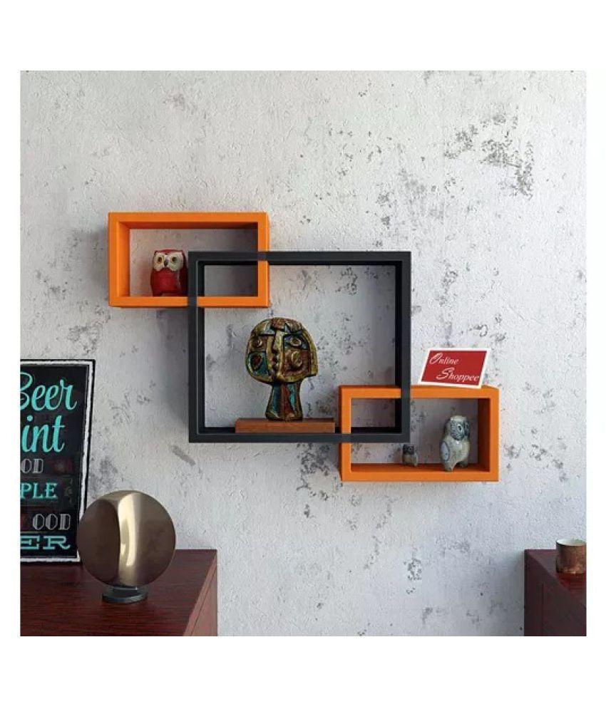 Onlineshoppee Intersecting MDF Set of 3 Wall Shelves - Black & Orange