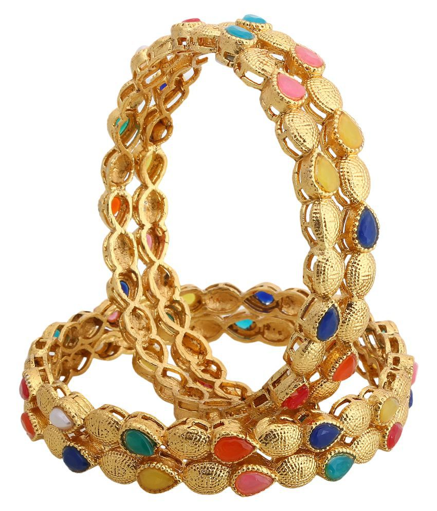 Jewels Gold Alloy Party Wear Latest Unique Bangles Set For Women & Girls ( Pack Of -4)