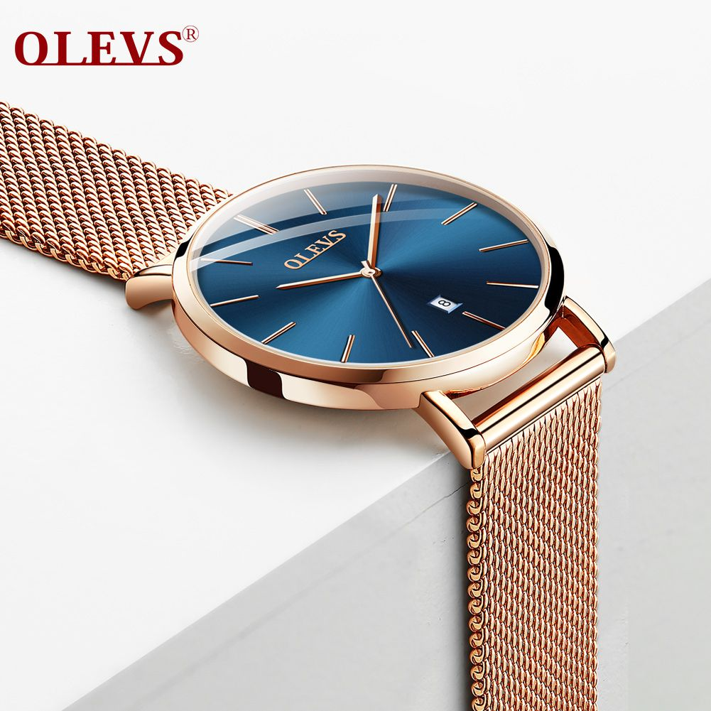 OLEVS Rose Gold Metal Strap Blue Round Dial Waterproof Womens Analog Watch - 1 pc