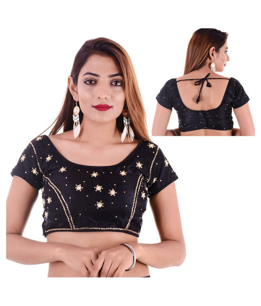 Amazing Black Silk Readymade with Pad Blouse