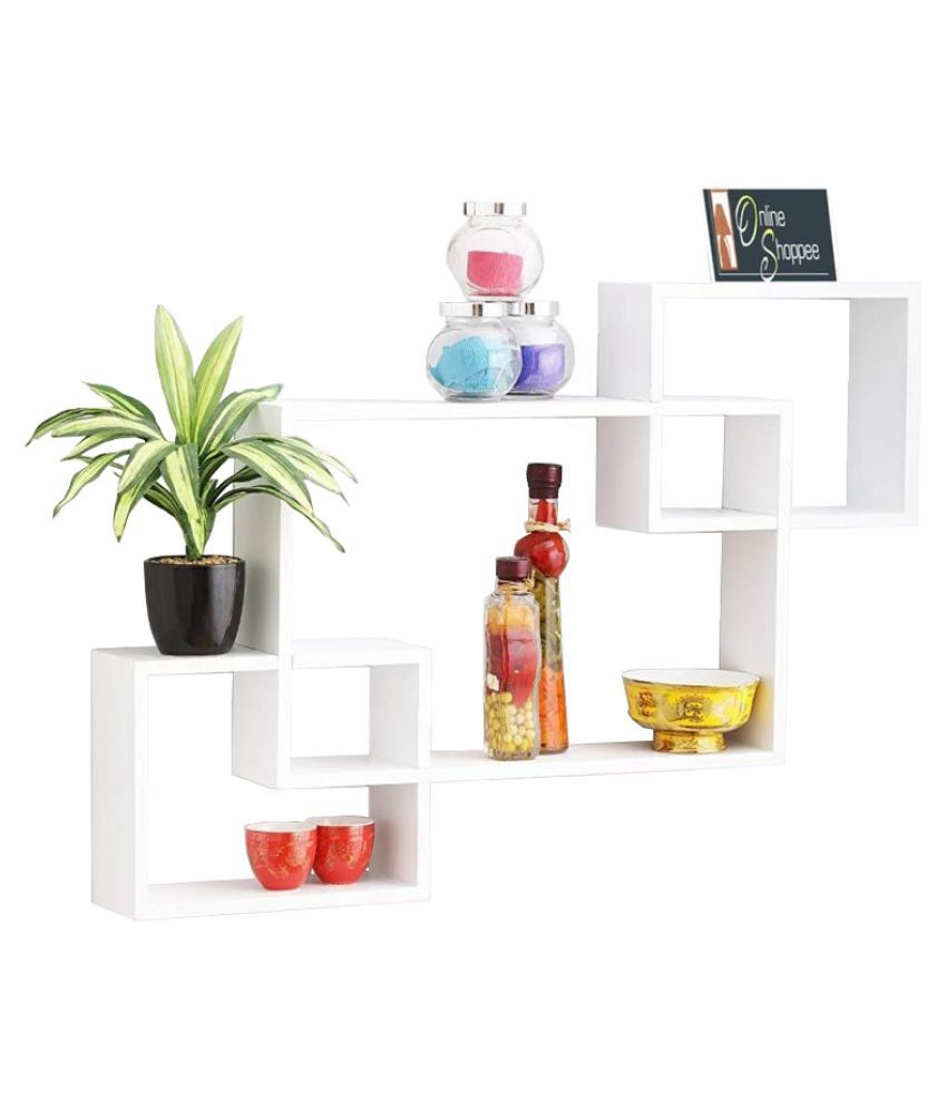 Onlineshoppee Intersecting MDF Set of 3 Wall Shelves