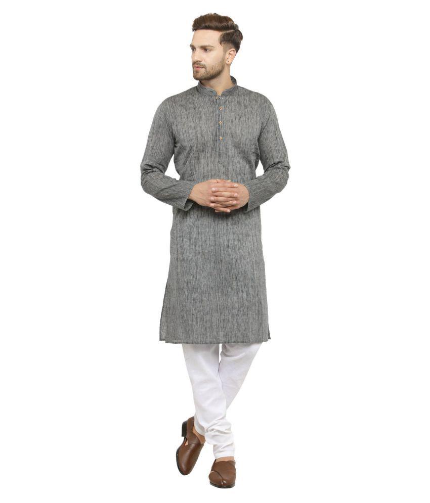 RG Designers Silver Silk Blend Kurta Pyjama Set
