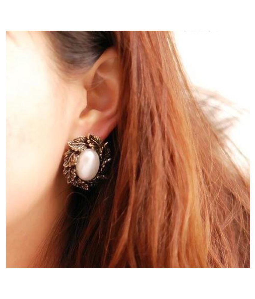 Romp Fashion Metal Pearl Stud Fancy Party Wear Earrings For Girls And Women