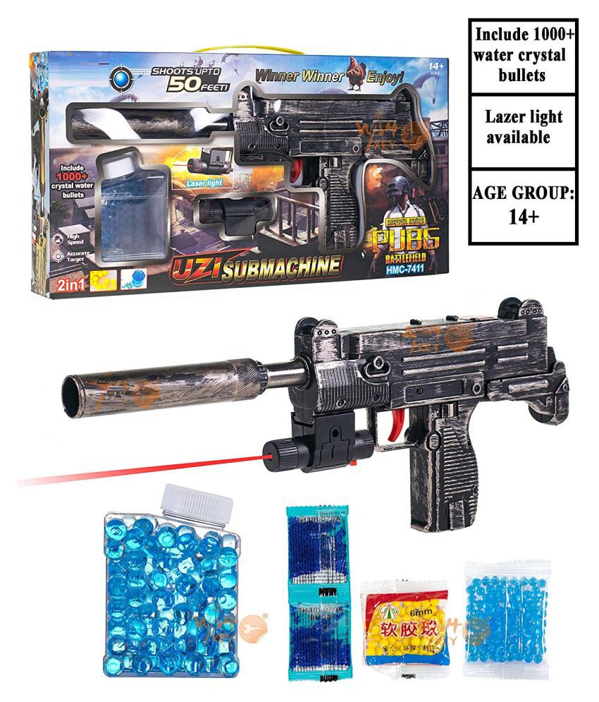 CrazyBuy  PUBG Theme Uzi Submachine 2 in 1 Gun Toy Set with 1000+ Crystal Water & Soft Foam Bullet Balls,Target Shooting Role Play Game for Kids