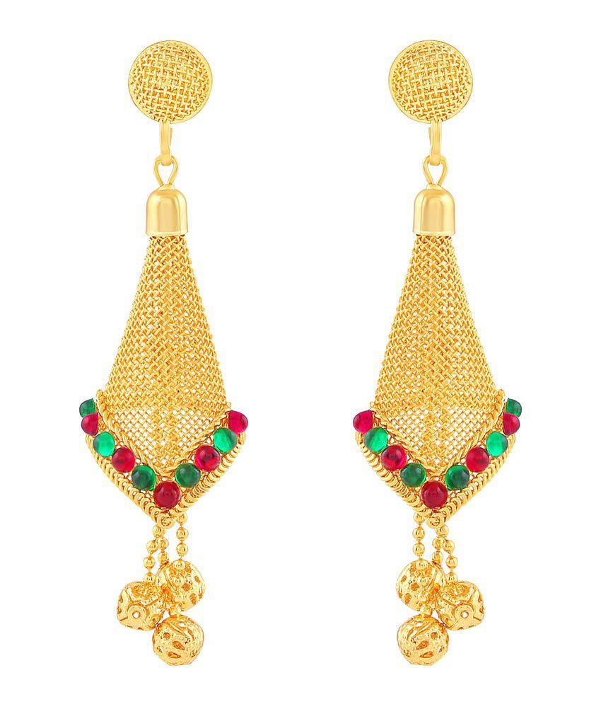 ed34b1045 ... M J Fashion Jewellery Brass Golden Long Haram Designer 22kt Gold Plated  Necklace set Combo