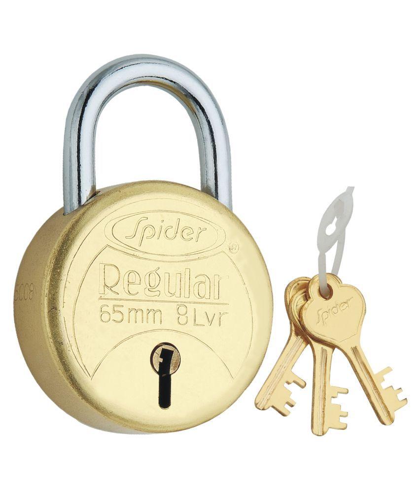 Spider Brass Pad Lock (RPB 65) Pack of 2 Pcs,