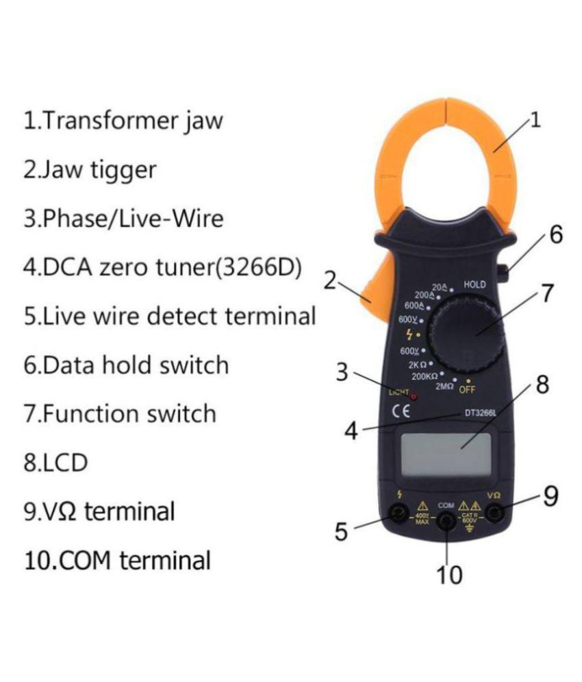 With Fire Wire Test Function DT3266L Digital Clamp Meter Electronic Tester  Meter for AC Current, AC Voltage, DC Voltage, Resistance, Live Voltage