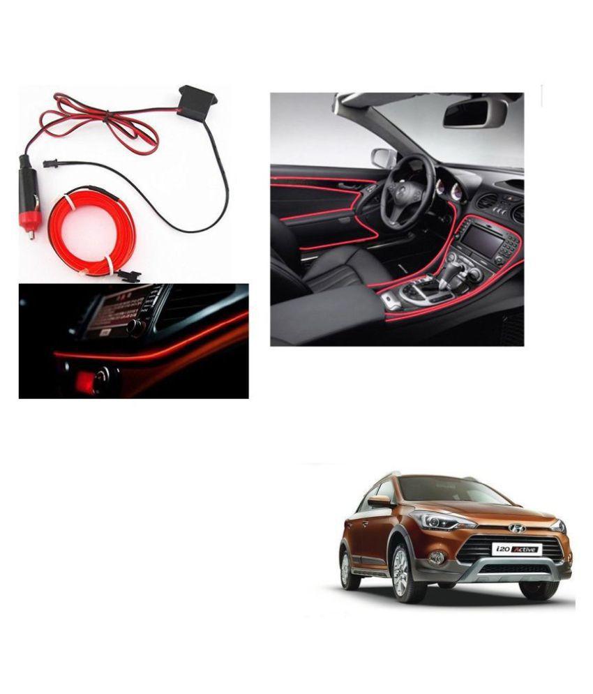 Auto Addict Red Color 12V 5Mtrs Roll Cold Light Car Socket Strip Neon Lamp Creator Decor Dashboard Interior Lighting For Hyundai i20 Active