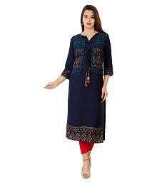 Lakshita Blue Rayon Jacket Style Kurti