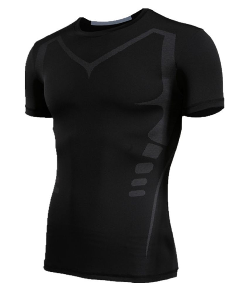 Jioe Black Color 1Pc S Size Breathable Tight Training T-shirt