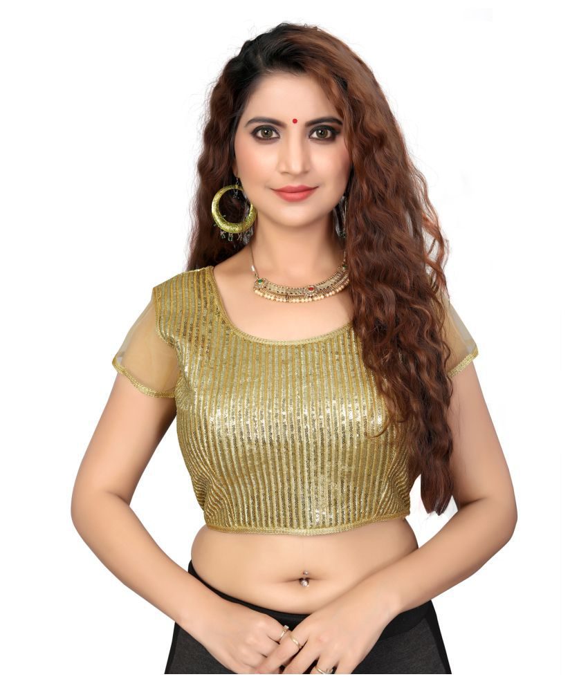 Shubh Sanidhya Beige Silk Readymade with Pad Blouse