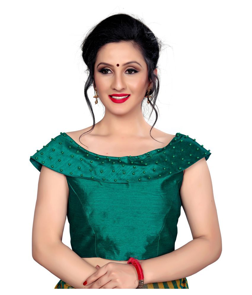 Shubh Sanidhya Green Silk Readymade with Pad Blouse