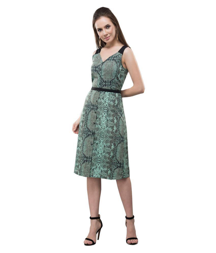 V&M Crepe Green Shift Dress