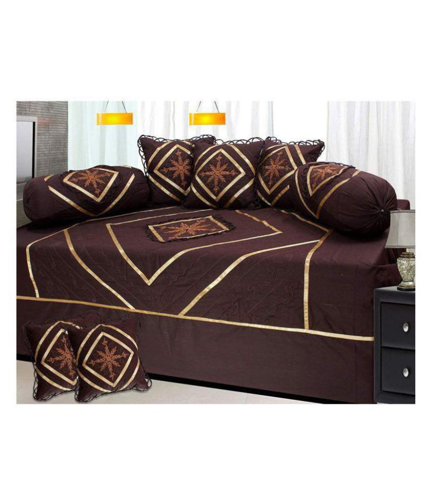 HomeStore-YEP Cotton Brown Embroidery Diwan Set 8 Pcs