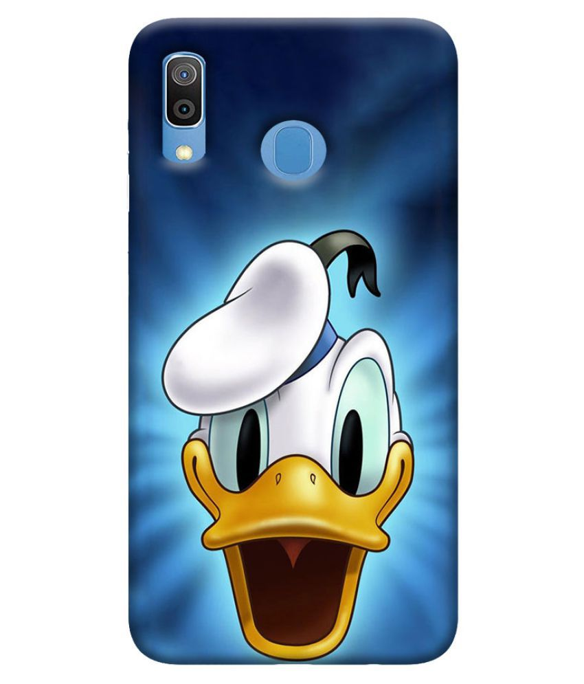 Samsung Galaxy A20 Printed Cover By Digi Swipes Donald Duck Face Mobile Back Cover and Cases Raised Lip for screen protection.