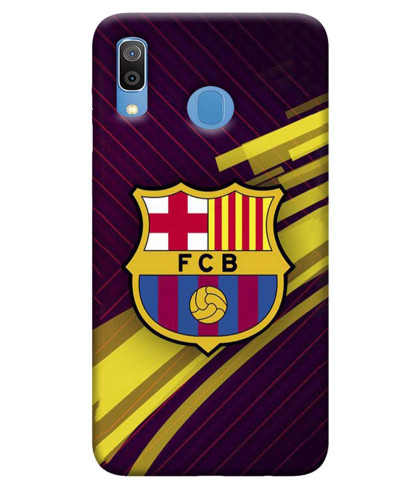 Samsung Galaxy A30 Printed Cover By Digi Swipes FC Barcelona Mobile Back Cover and Cases Raised Lip for screen protection.