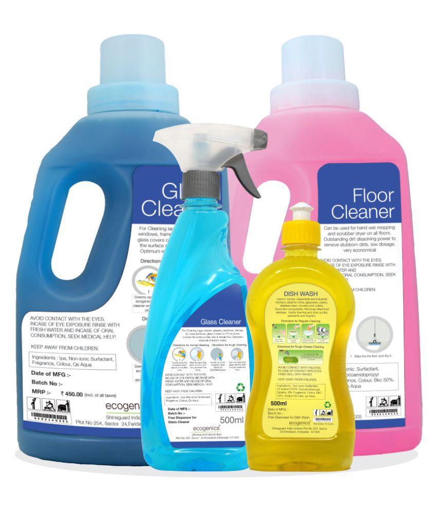 ECOGENICS INDIA Glass Cleaner Liquid Mild Fragrance 3000 ml Pack of 4