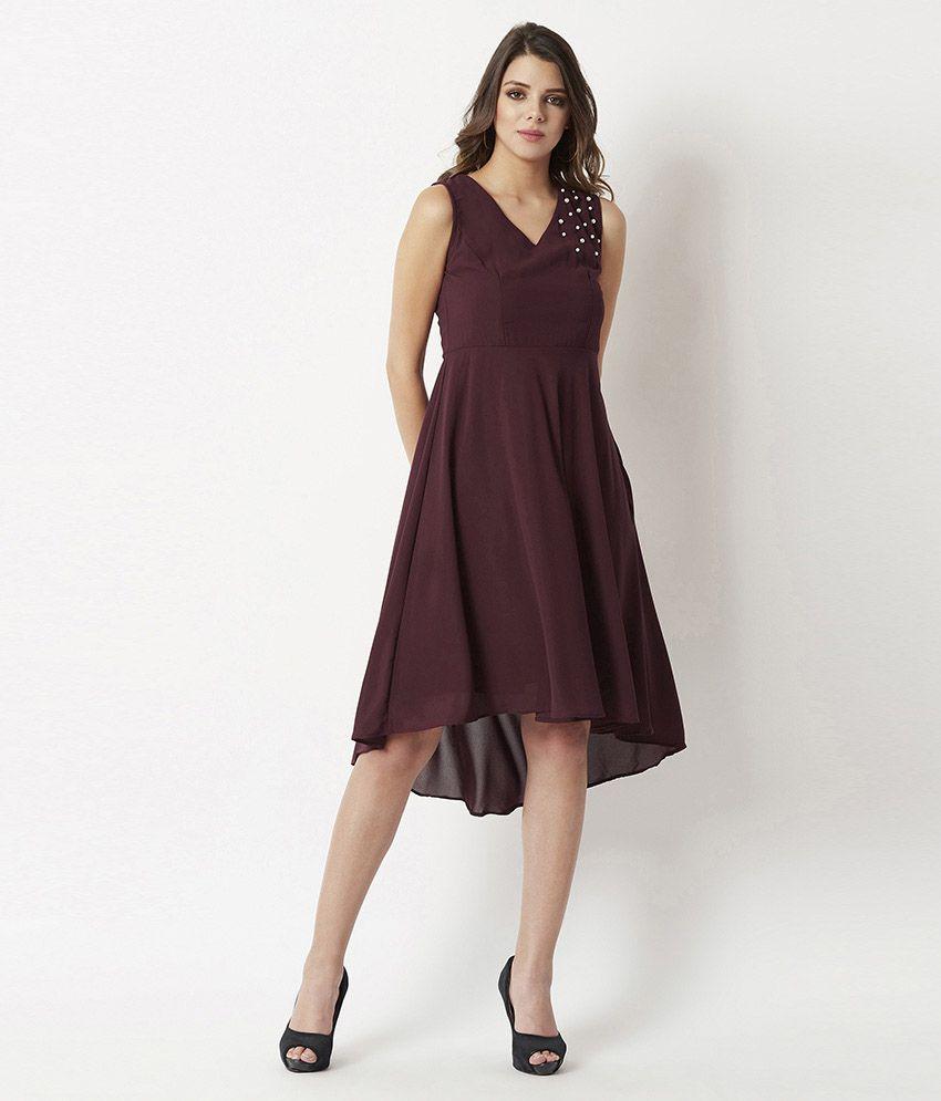 Miss Chase Georgette Maroon Skater Dress