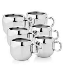 SAM Steel Stainless Double Walled Tea Set 6 Pcs 80 ml