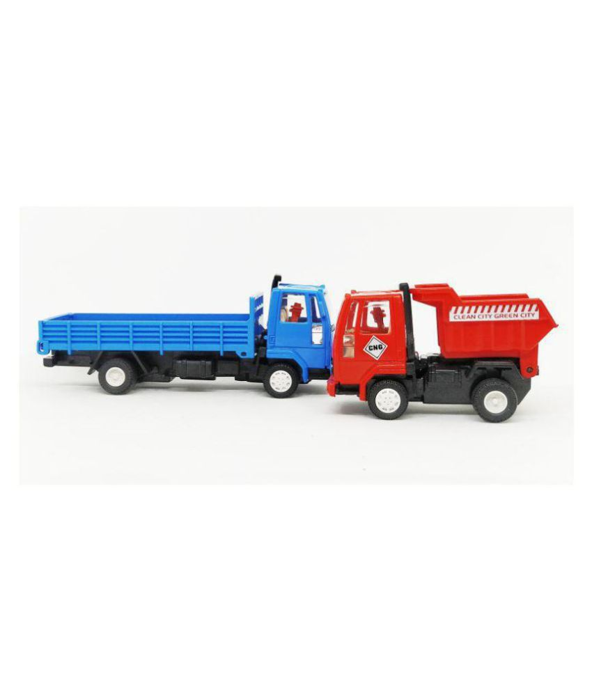 Ashok Leyland Truck & Dumper Truck Automobile Miniatures(2Combo) (Pull Back  Toy Car) Random Color (Color May Vary)