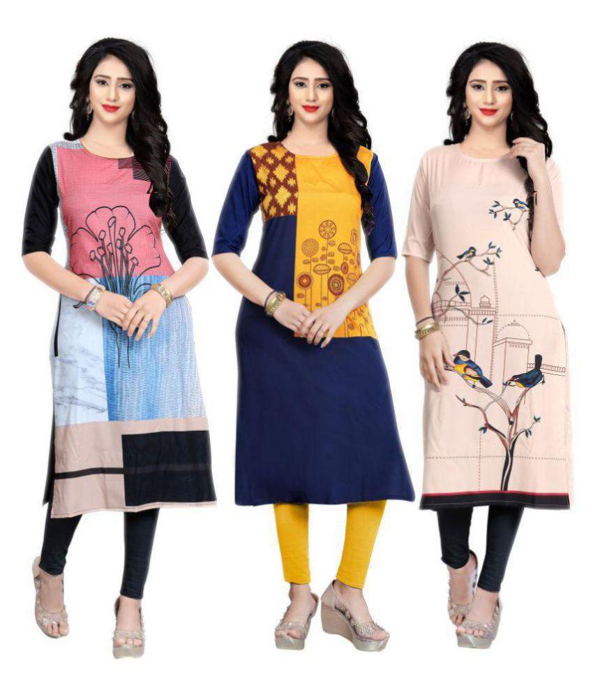 Fashion Tree Multi-coloured Crepe Straight Kurti - Set of 3