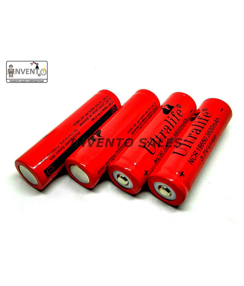 Invento 4pcs 3.7V 3800 mAh Polymer Li ion battery 18650 Rechargeable Battery Cell for Power Bank DIY Projects