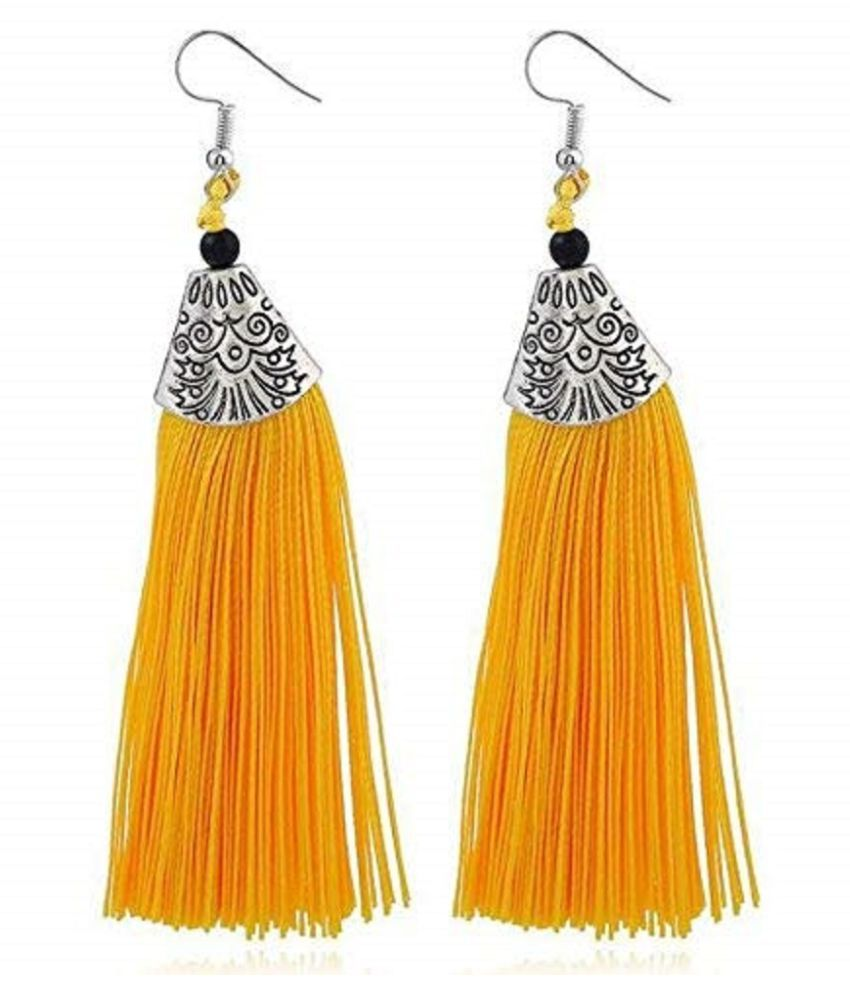 Yellow Metal Jewellery Thread Tassel Long Earrings for Women
