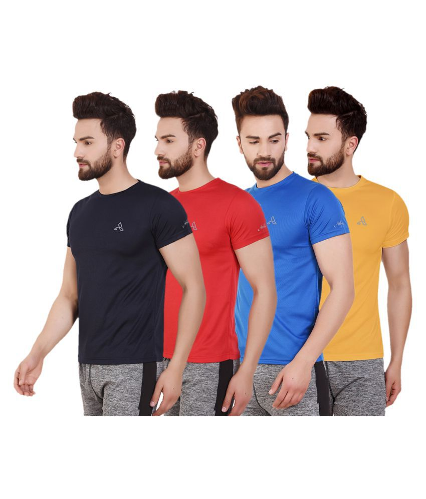 ATHLIV Multi Polyester T-Shirt Pack of 4