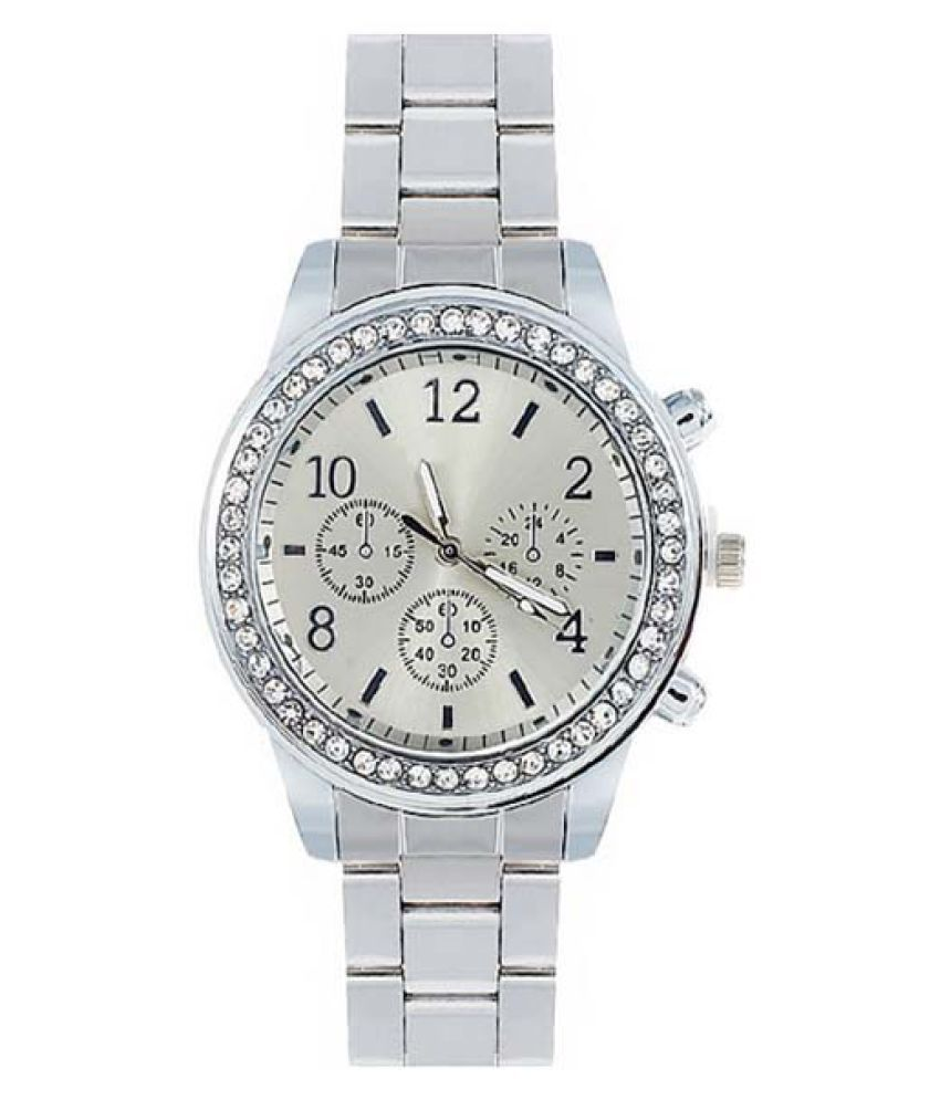 COLOGO  Silver Ladies watch with diamond alloy