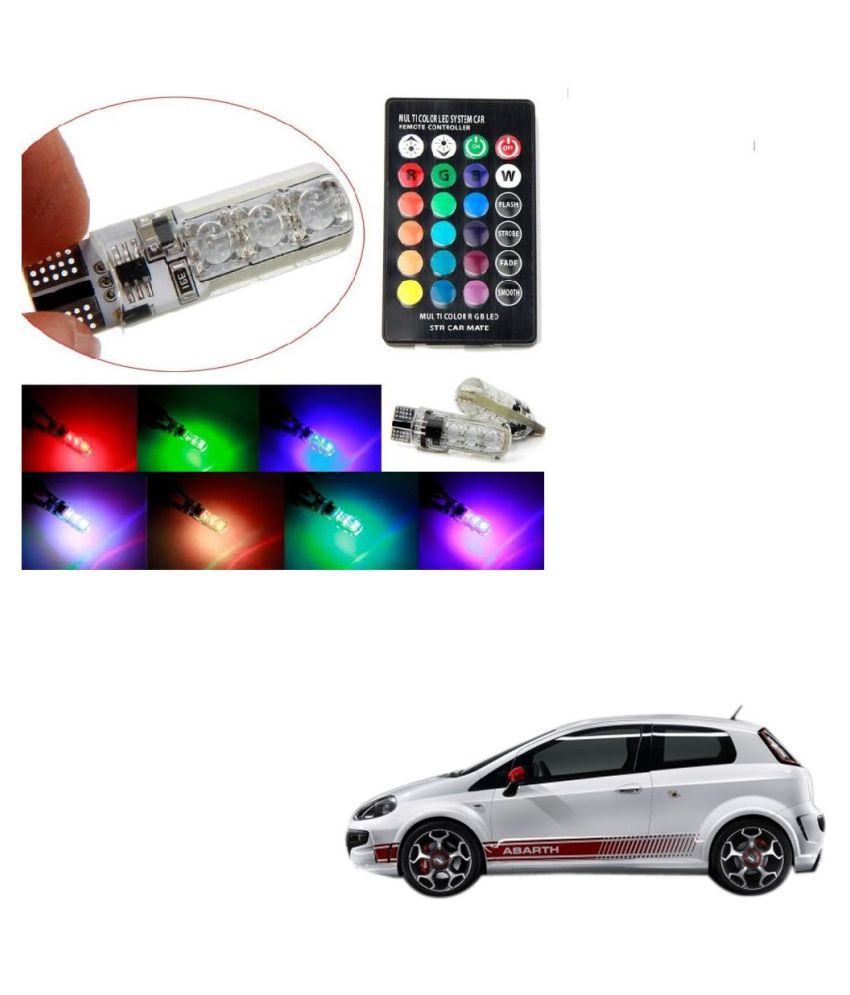 Auto Addict Car 5050 T10 6 SMD Remote Control 12V RGB Car Reading Wedge Lights for Auto Tail Light,Side,Parking,Door,Parking,Indicator,Socket Lighting Bulb 2 Pcs For Fiat Abarth